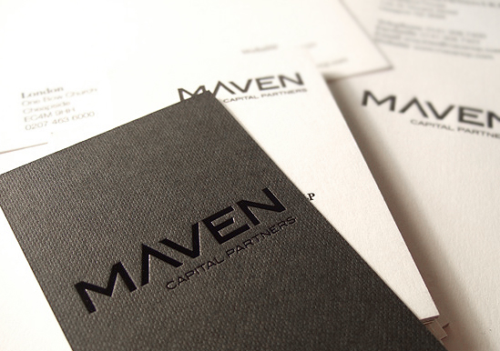 Maven Capital Partners Black Ink On Ebony Embossed Business Card